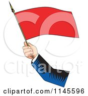 Clipart Of A Retro Hand Waving A Red Flag Royalty Free Vector Illustration