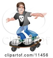 Young Man Holding His Arms Out To Maintain Balance While Skateboarding Clipart Illustration