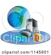 Clipart Of A Desktop Computer With A Credit Card Globe And Security Padlock Royalty Free Vector Illustration