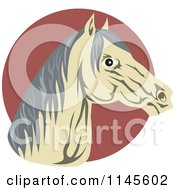 Clipart Of A Horse Head Over A Circle Royalty Free Vector Illustration