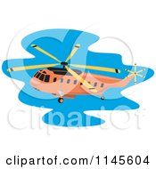Clipart Of A Flying Orange Helicopter Royalty Free Vector Illustration