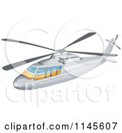 Clipart Of A White Helicopter Royalty Free Vector Illustration