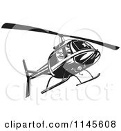 Clipart Of A Retro Black And White Helicopter Royalty Free Vector Illustration