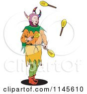 Clipart Of A Jester Juggling Paddles Royalty Free Vector Illustration by patrimonio