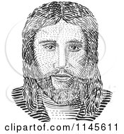 Clipart Of A Black And White Jesus Engraving Royalty Free Vector Illustration by patrimonio