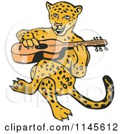 Clipart Of A Guitarist Jaguar Royalty Free Vector Illustration