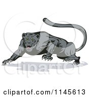 Clipart Of A Growling Jaguar Royalty Free Vector Illustration by patrimonio