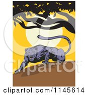 Clipart Of A Prowling Jaguar Ready To Pounce At Sunset Royalty Free Vector Illustration