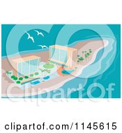 Clipart Of Gulls Flying Over Island Beach Resort Hotels Royalty Free Vector Illustration