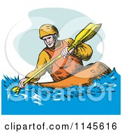Clipart Of A Kayaker Paddling 3 Royalty Free Vector Illustration