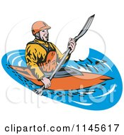Clipart Of A Kayaker Paddling 2 Royalty Free Vector Illustration by patrimonio