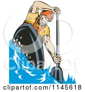 Clipart Of A Kayaker Paddling 1 Royalty Free Vector Illustration by patrimonio