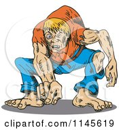 Clipart Of A Hunchback Man Pointing Outwards Royalty Free Vector Illustration