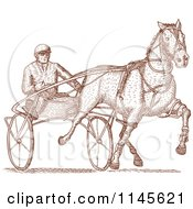 Clipart Of An Engraved Horse Harness Racer Royalty Free Vector Illustration