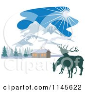 Clipart Of Deer Near A Winter Mountainous Cabin Royalty Free Vector Illustration by patrimonio