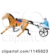 Clipart Of A Retro Trotter Harness Horse Racer Royalty Free Vector Illustration