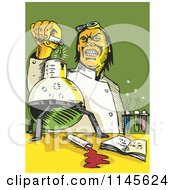 Clipart Of A Retro Mad Scientist Pouring Chemicals Royalty Free Vector Illustration