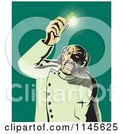 Clipart Of A Retro Mad Scientist Holding Up A Shining Test Tube Royalty Free Vector Illustration by patrimonio