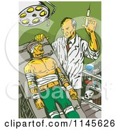 Clipart Of A Retro Mad Scientist Injecting A Patient Royalty Free Vector Illustration by patrimonio