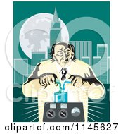 Clipart Of A Retro Mad Scientist Pouring Chemicals Near A City Royalty Free Vector Illustration