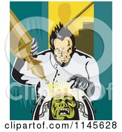Clipart Of A Retro Mad Scientist Building Frankenstein Royalty Free Vector Illustration by patrimonio