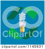 Clipart Of A Flourescent Lightbulb On Blue With Arrows Royalty Free Vector Illustration