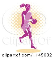 Clipart Of A Retro Pink Female Netball Player Over Orange Halftone Dots Royalty Free Vector Illustration by patrimonio