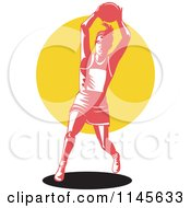 Clipart Of A Retro Female Netball Player Over A Yellow Circle Royalty Free Vector Illustration by patrimonio