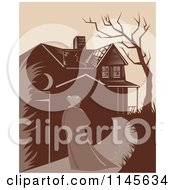 Clipart Of A Retro Woman Walking Towards A Dilapidated Mansion Royalty Free Vector Illustration