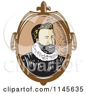 Clipart Of A Portrait Of An Explorer Royalty Free Vector Illustration by patrimonio