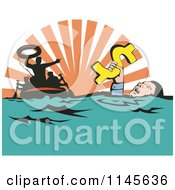 Clipart Of A Man Drowning In Debt Holding Onto A Dollar With Rescue In The Background Royalty Free Vector Illustration by patrimonio