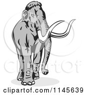 Clipart Of A Retro Walking Wooly Mammoth Royalty Free Vector Illustration