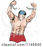Clipart Of A Strong Man Breaking Free From Chains Royalty Free Vector Illustration