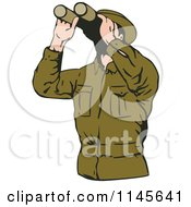Clipart Of A Man In Green Using Binoculars Royalty Free Vector Illustration