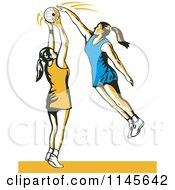 Clipart Of A Retro Female Netball Player Blocking Royalty Free Vector Illustration by patrimonio