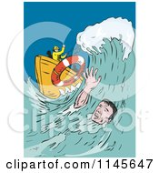 Clipart Of A Man Drowning In The Ocean Reaching For A Life Buoy Royalty Free Vector Illustration