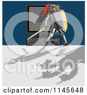 Clipart Of A Knight Protecting A Computer From A Dragon Virus Royalty Free Vector Illustration by patrimonio