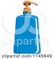 Clipart Of A Blue Liquid Hand Soap Dispenser Bottle Royalty Free Vector Illustration