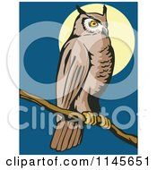 Clipart Of A Wild Owl Perched Against A Full Moon Royalty Free Vector Illustration by patrimonio