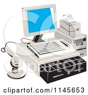 Clipart Of A Retail Merchant Cash Register And Checkout System Royalty Free Vector Illustration by patrimonio