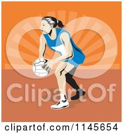 Clipart Of A Female Netball Player Over Orange Rays Royalty Free Vector Illustration by patrimonio