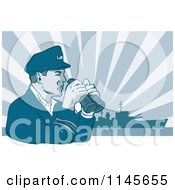 Clipart Of A Retro Navy Captain Holding Binoculars Against A Ship And Rays Royalty Free Vector Illustration by patrimonio