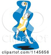 Clipart Of A Female Netball Player Jumping Over Blue Royalty Free Vector Illustration by patrimonio