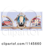 Clipart Of A Portrait Of A Wealthy Man With A Car And House Royalty Free Vector Illustration by patrimonio