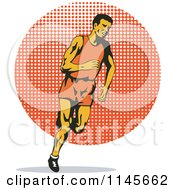 Clipart Of A Retro Male Runner Over A Halftone Circle Royalty Free Vector Illustration