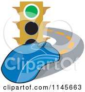 Clipart Of A Traffic Light And Computer Mouse On A Road Royalty Free Vector Illustration