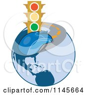 Clipart Of A Traffic Light And Computer Mouse On A Globe Road Royalty Free Vector Illustration by patrimonio