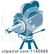 Clipart Of A Retro Blue Movie Camera Royalty Free Vector Illustration