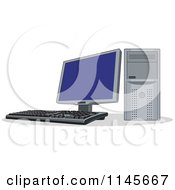 Clipart Of A Desktop Computer With A Flat Screen Royalty Free Vector Illustration by patrimonio