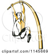 Clipart Of A Retro Pole Vaulter Royalty Free Vector Illustration